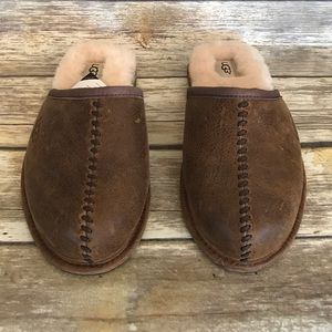 UGG Australia Scuff Deco Chestnut Leather Slippers